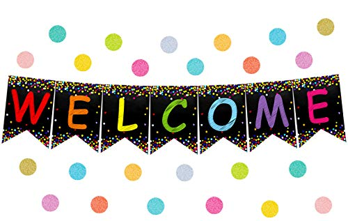 Confetti Welcome Banner Welcome Bulletin Board for Classroom Decoration Back to School Teacher Supply