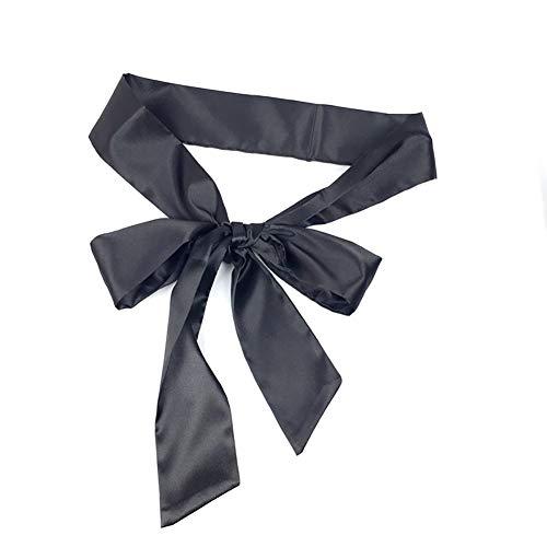 Long Ribbon Sash Belt for Dress Wedding Sash Bridal Silk Satin Belts Dress JW61 (Black)