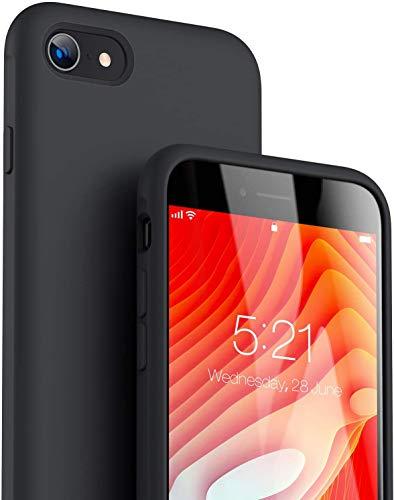 TORRAS Nur für iPhone SE 2020 Hülle (Baby Skin Berührung) Original Flüssiges Silikon Handyhülle iPhone SE 2020 (Zieht keinen Schmutz an) rutschfest Elastisch Stoßfest Slim iPhone SE 2020 Case Schwarz