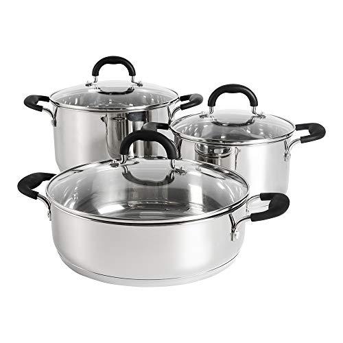 ProCook Gourmet Steel Topfset - 3-teilig - Fleischtopf und Bratentopf Set - Edelstahl - Kochtopfset - Kochgeschirr - Induktion - mit gehärteten Glasdeckeln und Stay-Cool Griffen