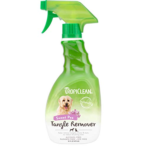TropiClean Sweet Pea Tangle Remover Spray for Pets, 16oz - Made in USA - Dog Detangler and Dematting Spray - Naturally Derived Ingredients - No-Rinse Formula - Alcohol Free - Paraben Free - Dye Free