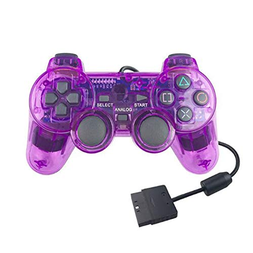 Zhenwo Gamepad for Tablette, Wireless Gamepad PS2 Controller for Playstation 2-Konsole Joystick Doppel Vibration Schock Joypad Wireless-Controle,Lila