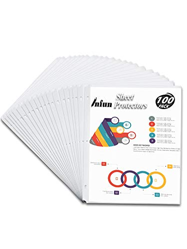 INFUN Sheet Protectors,100 Pack Clear Paper Protector Sleeves, Reinforced 3 Hole Page Protectors, Top Load for 8.5 x 11 Inch Sheets