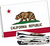 ERT California State Flag Two-Side 3x5 Ft Outdoor Embroidered Durable 300D Nylon for Outside - UV Fade Resistan - Brass Grommets - California Republic Bear State Flag CA State Flags