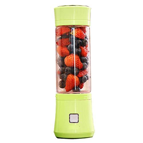 XUE-BAI 480ML Licuadora portátil, USB Recargable 6 Cabezal de Corte Juicer Cup, Fruta, Batido, Mezcla de Alimentos para Bebés con Motor Potente/Green
