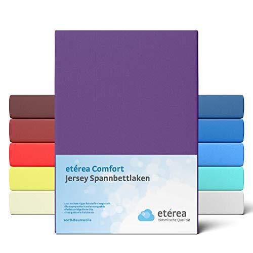 etérea Comfort Jersey Spannbettlaken 90x 200 bis 100x200cm - Weiches Spannbetttuch aus 100% Baumwolle, Bettlaken mit ca. 25 cm Steghöhe und 140 g/m², Lila