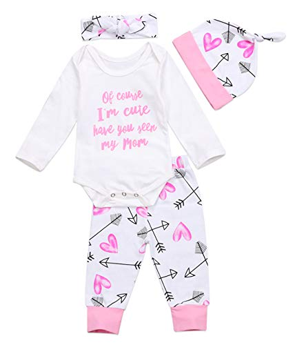 Newborn Baby Girls Clothing Set Letter Words Romper Bodysuit Headband Hat Pants Outfits