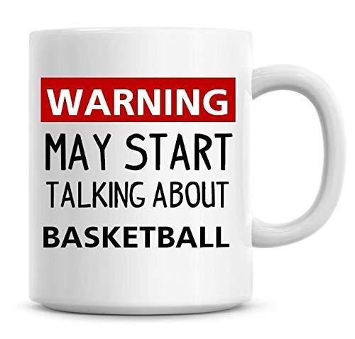 Tazas Advertencia puede comenzar a hablar sobre baloncesto Taza de café Humor divertido Café Baloncesto tazas de café Mug 330ML