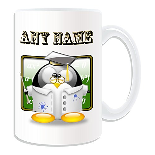 De regalo con mensaje personalizado - taza tamao grande Professor Doctor (Pingino disfraz infantil de diseo de, blanco) - el nombre/mensaje en el diseo de - tampn mtos PhD Dr Prof