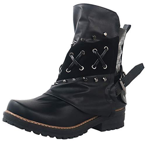 Kaister Damen Stiefeletten Stiefel schwarz mit Strass und Perlen Schnür Biker Boots