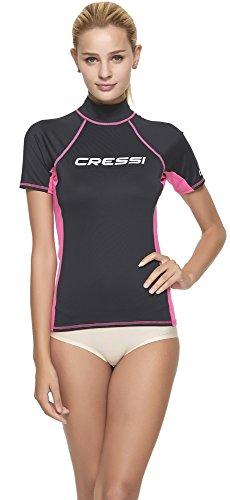 Cressi Rash Guard, Maglia Protettiva a Maniche Corte, in Speciale Tessuto Elastico, Protezione Solare UV/UPF 50+ Donna, Nero/Rosa, L