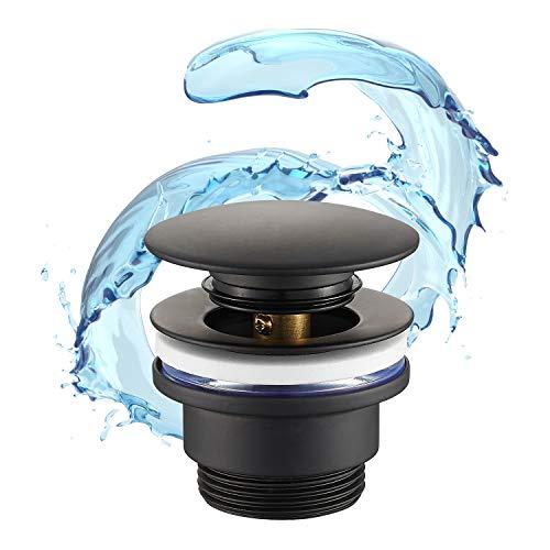 STARBATH PLUS- Tuyau d'écoulement lavabo – Bonde pour lavabo clic clac- Installation facile- Élaborée avec laiton couleur noir mat- Valve universelle