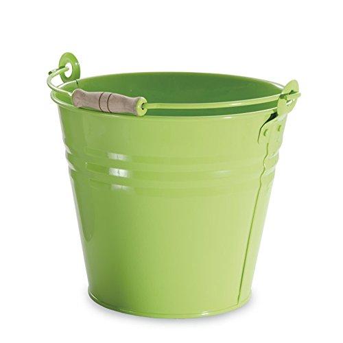 VERDELOOK Secchio in Metallo Verniciato con Impugnatura in Legno, capienza 10 Litri, Verde