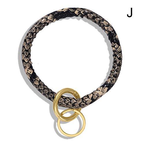Anglerfish Armreif Schlüsselanhänger Schlüsselanhänger Handgelenk Leder Armband Schlüsselhalter Reifen Geschenke (Schlange Hellbraun)