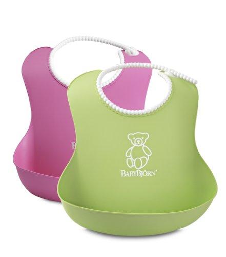 BABYBJORN Soft Bib - Pink/Green (2 Pack)