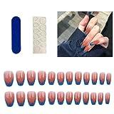 24 Pezzi Unghie Finte Colorate Unghie Finte artificiali Quadrate alla Moda Possono Essere Utilizzate per Spettacoli di abbigliamento Quotidiano(12 pezzi di colla gelatina +1 strumento per manicure)