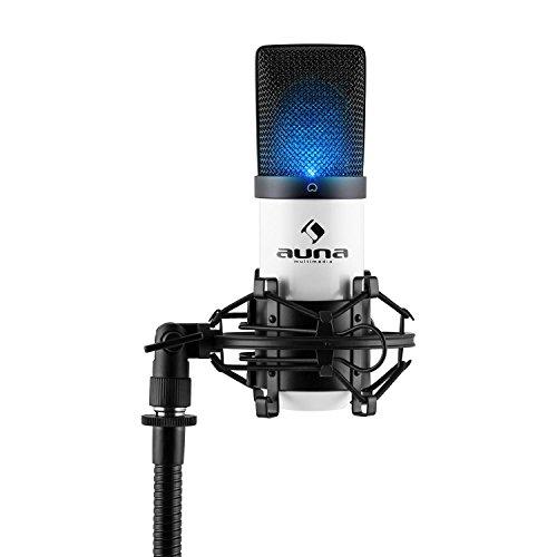 auna MIC-900WH LED • USB-condensatormicrofoon in een metalen behuizing met cardioïde polair patroon, incl. microfoonspin, schroefdraadadapter en beschermtas, wit