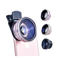 カメラレンズ 2 IPhone 8 7つの6Sプラス小米科技サムスンLGに適した1レンズ0.45X広角12.5XマクロレンズHDの携帯電話のカメラレンズで 電話レンズカバー (Color : GOLD)