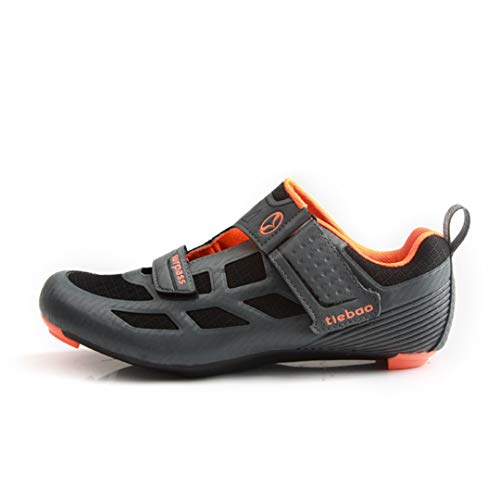 JIMAITEAM Ankunft Fahrradschuhe Racing Rennradschuhe Mesh Upper Breathable Cycling Sneakers Triathlon Reitschuhe Grey Orange 42
