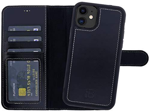 Burkley Handyhülle für iPhone 11 Leder-Hülle mit Abnehmbarer Schutz-Hülle kompatibel mit Apple iPhone 11 (6.1 Zoll) Hülle Cover - TÜV geprüfter RFID Schutz (Antik Anthrazit)