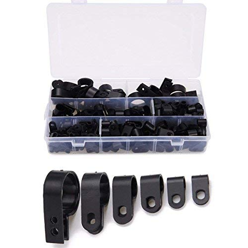 Cable Clamp 200 Pcs Black Nylon Plastic R-Type Cable Clamps 3/16