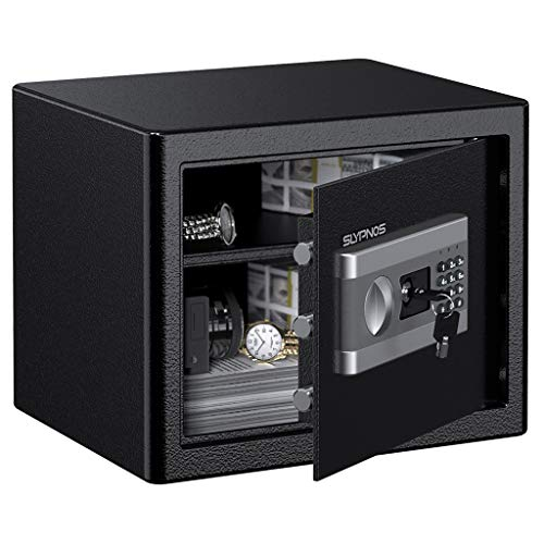 Caja Fuerte Convencionales de Seguridad, SLYPNOS - Caja de Seguridad (Regalo con 4 AA batterias+2 Llaves de Emergencia), Anti-Vibración Electroimán (L: 37x31x30 cm)