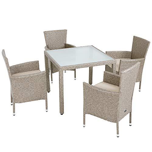 Deuba Conjunto de jardín de Poliratán Crema 4 sillas con cojínes y una mesa...