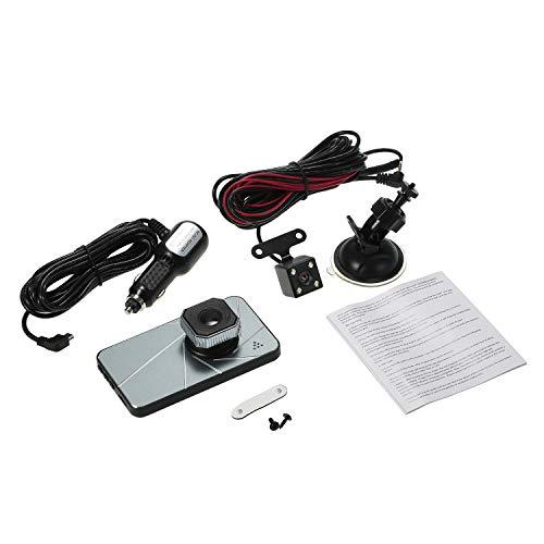 Kshzmoto 1080P FHD DVR para automóvil 4 pulgadas Dash Cam Grabador de conducción de automóviles Lente doble Videocámara para vehículo Grabación en ciclo cerrado Sensor G