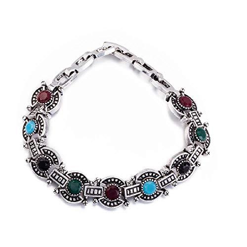 Zuiaidess Armbänder Für Damen,Vintage Persönlichkeit Armband Bunte Diamond Versilbert Farbe Neuheit Form Armbänder Für Mädchen Frauen Alltag Schmuck 18 cm