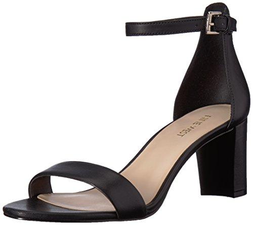 NINE WEST Women's Pruce Leather Heeled Sandal, Black/Black, 11