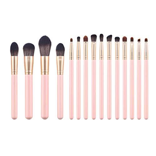 DaoRier Pinceaux Maquillages Set de 15 Pièces Blush Pinceau à poudre Cosmétique Brosse kit,Rose clair
