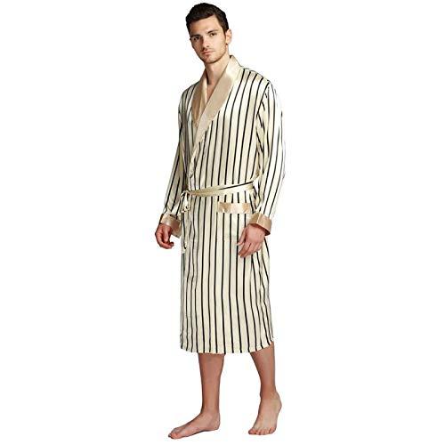 LEYUANA Pijamas de satén para Hombre, Batas SML XL 2XL 3XL Plus Beige Azul Rayas XXL Beige