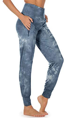 icyzone Pantalones largos de deporte para mujer, con bolsillos laterales, cintura alta, para correr, fitness Denim. L