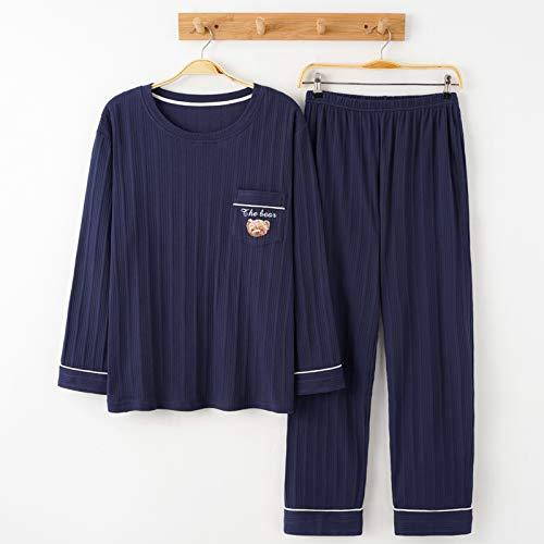 YHSW Pijamas para Hombres,Conjunto de Pijamas térmicos para Hombres,Pantalones de Manga Larga de Dos Piezas,Conjunto de algodón para la Parte Superior e Inferior,Ropa Informal Larga (L-XXXL)