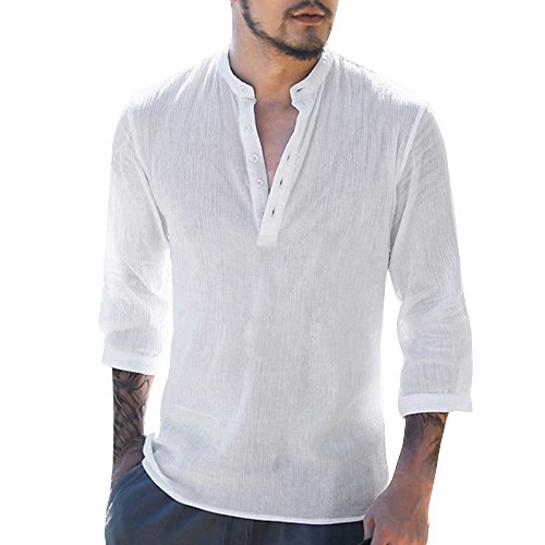 ShallGood Camisa Hombre Lino Blusa Casual Transpirable Top Manga Larga Suelta Botón Camisas Sin Cuello De Color Sólido Trabajo Shirt B Blanco Large