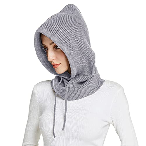 Facecozy Winter Hats for Women, Warm Hooded Scarf Hat for Women Balaclava Pullover Knitted Beanie Hat with Drawstring (Light Grey)