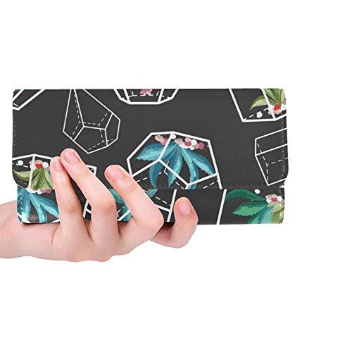 Einzigartige benutzerdefinierte Kakteen Blume Kaktus Frauen Trifold Wallet Lange Geldbörse Kreditkarteninhaber Fall Handtasche