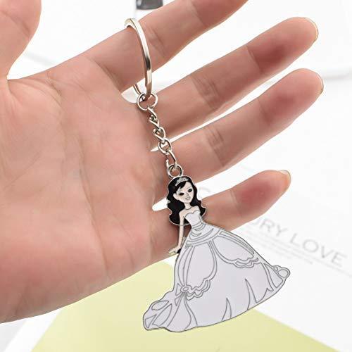 N/Een leuke cartoon witte lange jurk prinses sleutelhanger mooi meisje zilver zinklegering metalen sleutelhanger voor meisje vrouwen gift