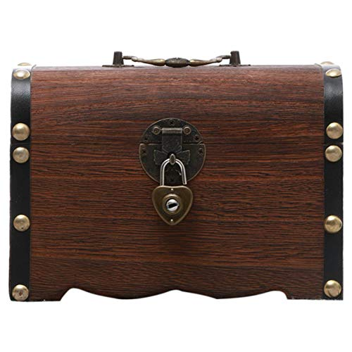 DASNTERED - Hucha de madera, cofre del tesoro vintage con cerradura y llaves, caja de almacenamiento para monedas de monedas, caja de banco de madera para ahorrar dinero, regalo para niños y a