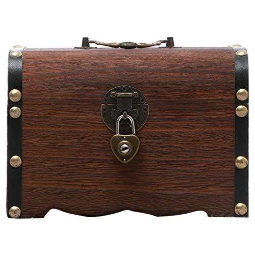 DSFSAEG Caja de almacenamiento del cofre del tesoro, caja de dinero, caja de bloqueo hucha, regalos de madera maciza juguete decoración del hogar niños con cerradura de pie vintage