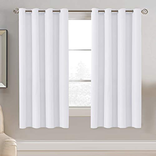 Linen Blackout Curtain 63 Inches Long for Bedroom / Living Room Thermal Insulated Grommet Linen Look Curtain Drapes Primitive Textured Burlab Effect Window Drapes 1 Panel - Pure White