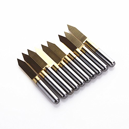 SMO 10x Titanium beschichtete Hartmetalls PCB Gravieren CNC Router Bit-Tool 60 Grad 0.2mm Tipp