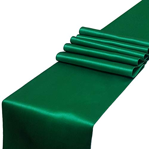 PARFAIR DESSIN Satin Table Runners 12 x 108 inch for Wedding Banquet Decoration, Bright Silk and Smooth Fabric Party Table Runners (Pack of 1, Green)