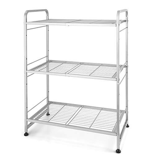 Estantes de metal de 3 niveles, organizador de estantes para gabinetes de almacenamiento de cocina, plateado