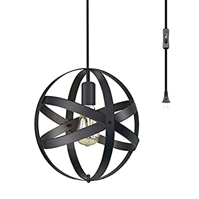 CHICLUX Spherical Plug in Pendant Light, Industrial Metal Cage Globe Chandelier Changeable Hanging Lighting Fixture with On/Off Switch, Oil Rubbed Black