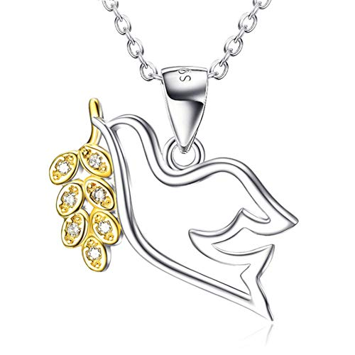 XINGYU Long Silver Necklaces For Women, Personalised Simple S925 Sterling Silver Peace Dove Pendant Gold-Plated Diamond Jewelry Girls Mom Girlfriend Wife Gift