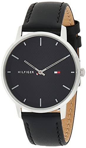 Tommy Hilfiger Herren Analoger Quarz Uhr mit Echtes Leder Armband 1791651