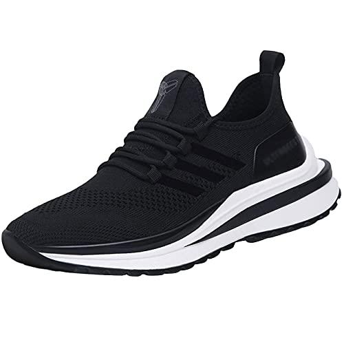 Entrenadores Hombres Zapatillas de Deporte, Zapatillas Deportivas de Peso Ligero al Aire Libre Casual Zapatos de atléticos de Malla Transpirable,Negro,41