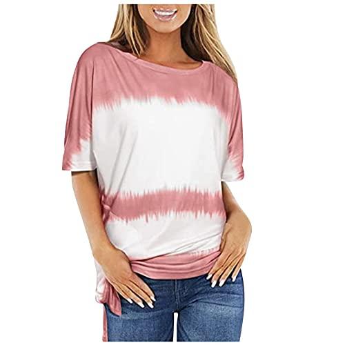 Camiseta de verano casual con estampado degradado de cuello redondo y manga corta suelta y cómoda para mujer