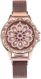 Brown color stylish women's watch with moving dial diamond loaded case mesh band magnet buckle stylish 8 colors